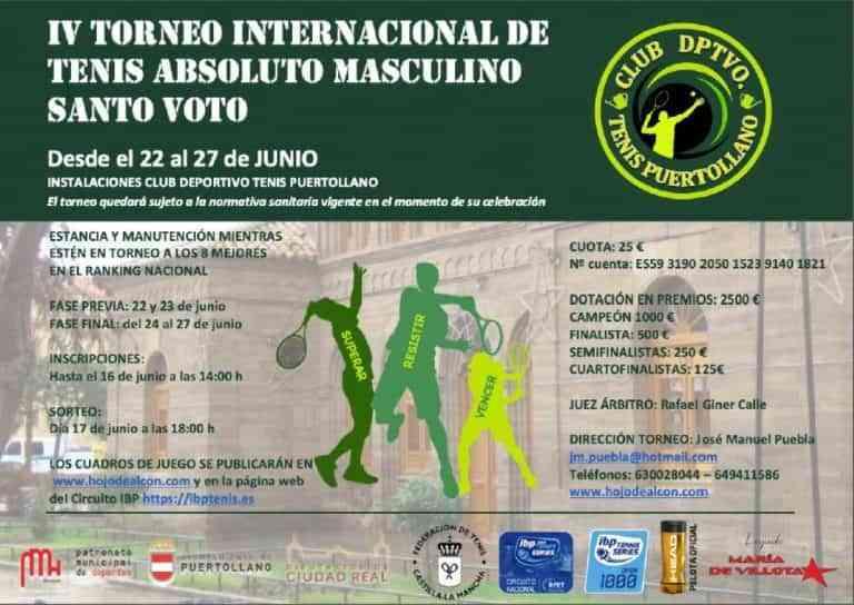 IV Torneo Internacional de Tenis Absoluto Masculino Santo Voto en Puertollano arranca mañana